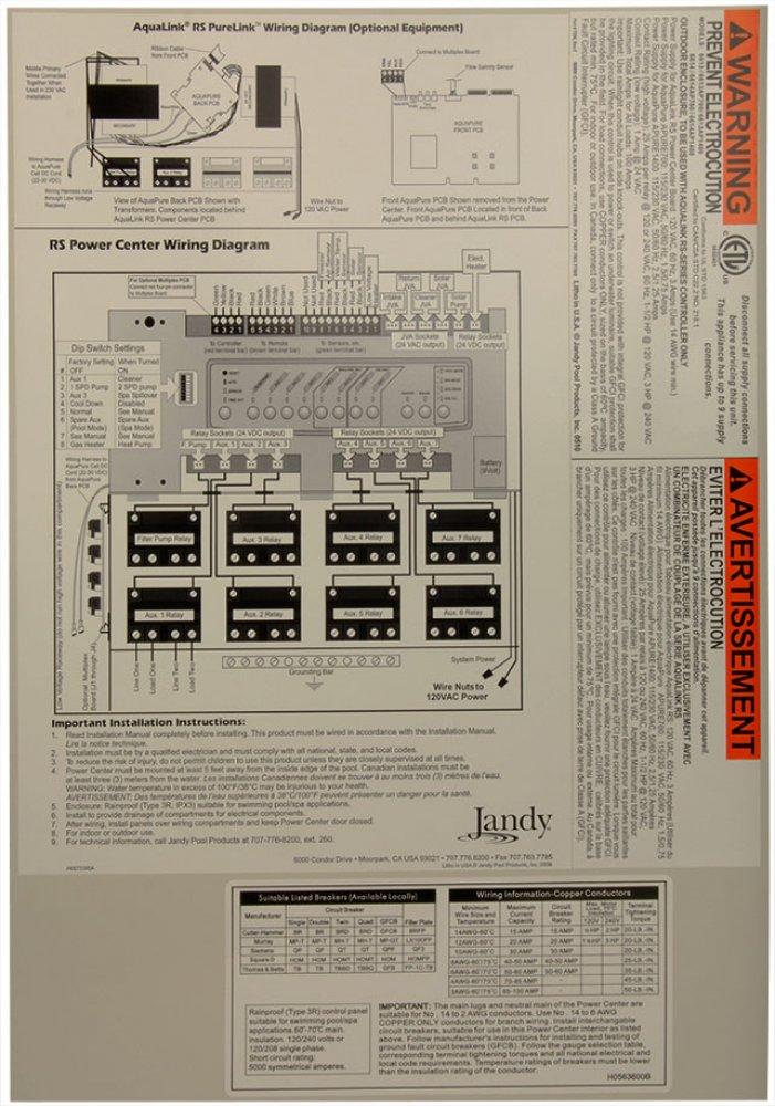 Jandy PureLink 6614AP700 Sub Panel Water Purification Power ... on
