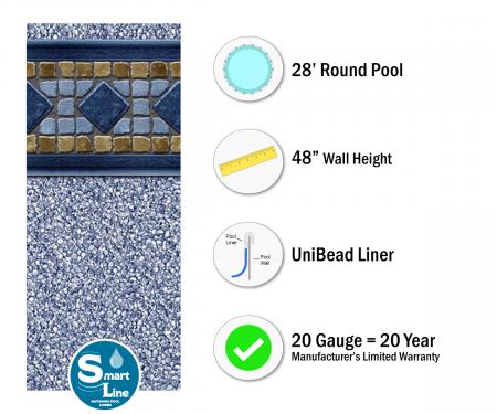 "SmartLine® 28' Round Laguna Unibead Liner - 48"" H (Various Gauges)"