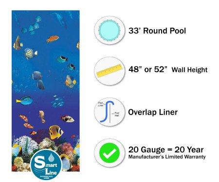 """SmartLine® 33' Round Caribbean Overlap Liner - 48"""" / 52"""" H (Various Gauges)"""