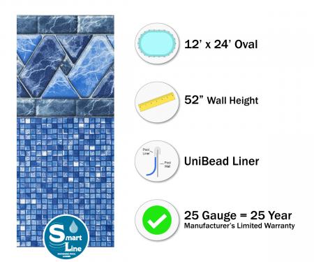 "SmartLine® 12' x 24' Oval Stone Harbor Unibead Liner - 52"" H (Various Gauges)"