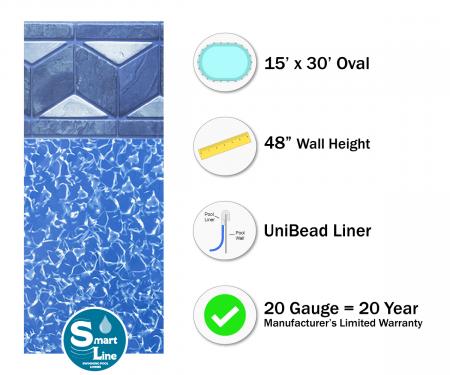 "SmartLine® 15' x 30' Oval Tuscan Unibead Liner - 48"" H (Various Gauges)"