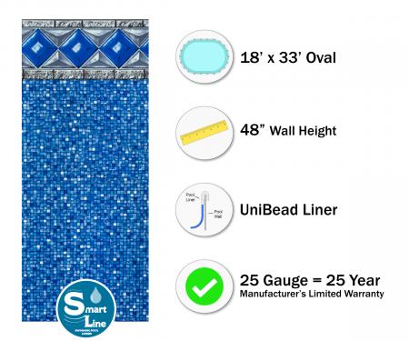"""SmartLine® 18' x 33' Oval Crystal Tile Unibead Liner - 48"""" H (Various Gauges)"""