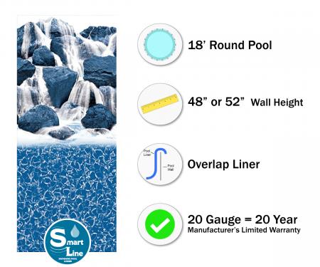 "SmartLine® 18' Round Waterfall Overlap Liner - 48"" / 52"" H (Various Gauges)"