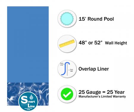 "SmartLine® 15' Round Swirl Bottom Overlap Liner - 48"" / 52"" H (Various Gauge)"