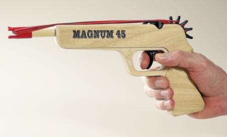 Magnum 45 Wooden Rubberband Gun