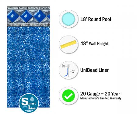 """SmartLine® 18' Round Crystal Tile Unibead Liner - 48"""" H (Various Gauges)"""