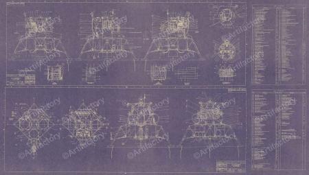 Apollo Lunar Excursion Module (LEM) Blueprint Poster