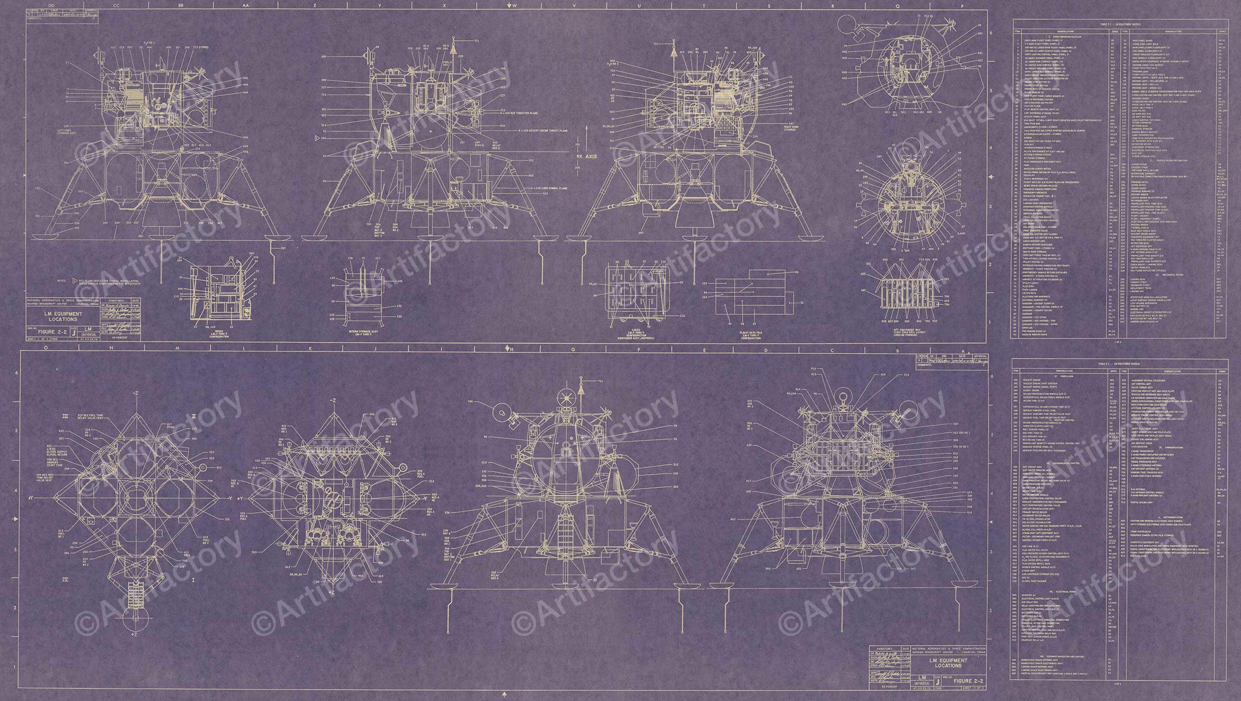 Apollo Lunar Excursion Module (LEM) Blueprint Poster ...