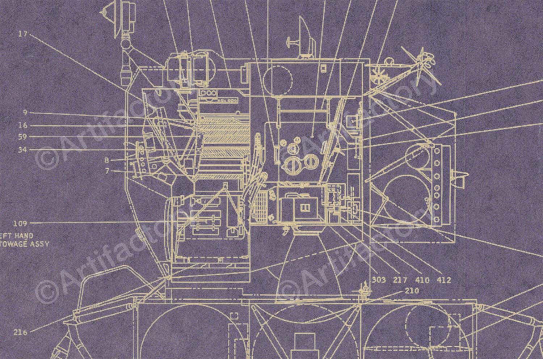 Apollo lunar excursion module lem blueprint poster apollo lunar excursion module lem blueprint poster malvernweather Image collections