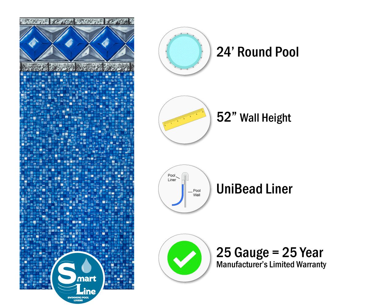 Smartline 174 24 Round Crystal Tile Unibead Liner 52 Quot H