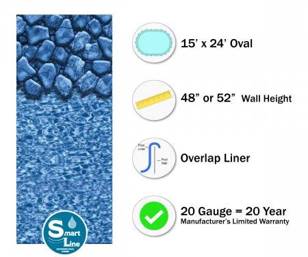 """SmartLine® 15' x 24' Oval Boulder Swirl Overlap Liner - 48"""" / 52"""" H (Various Gauges)"""