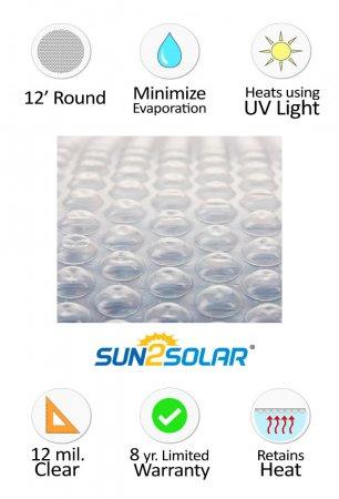Sun2solar 174 Crystal Clear Solar Cover 12 Round 12 Mil