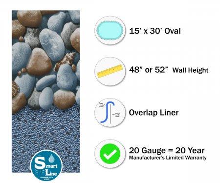 """SmartLine® 15' x 30' Oval Rock Island Overlap  Liner - 48"""" / 52"""" H (Various Gauges)"""