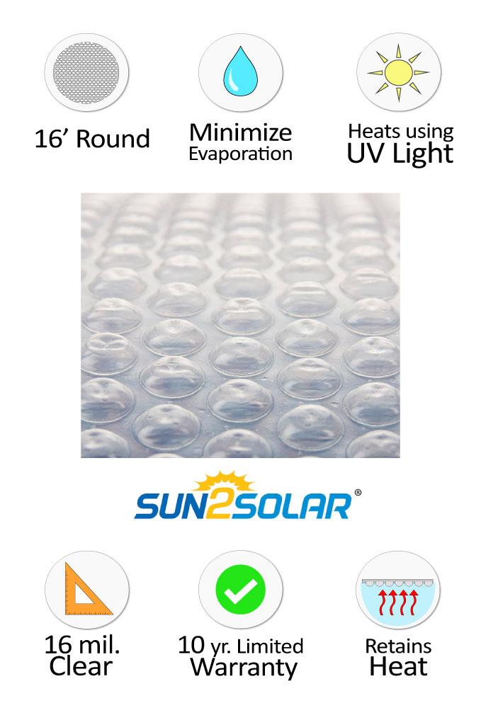 Sun2solar 174 Crystal Clear Solar Cover 16 Round 16 Mil