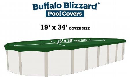 Buffalo Blizzard® Supreme Plus Green/Black Winter Cover - Oval Pools