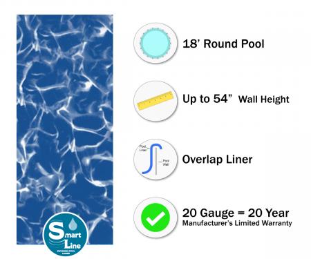 """SmartLine® 18' Round Sunlight Overlap Liner - 54"""" H (Various Gauges)"""