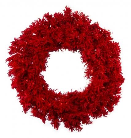 Flocked Red Fir Wreaths & Garland