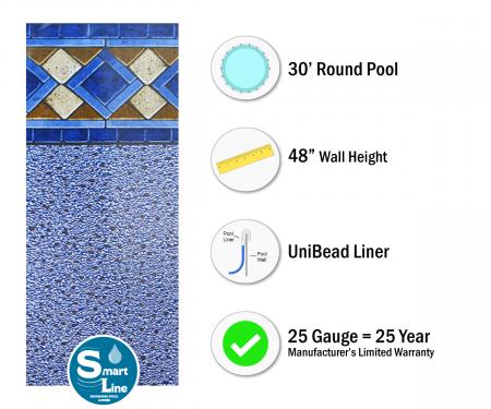 "SmartLine® 30' Round Mosaic Diamond Unibead Liner - 48"" H, 25 Gauge"