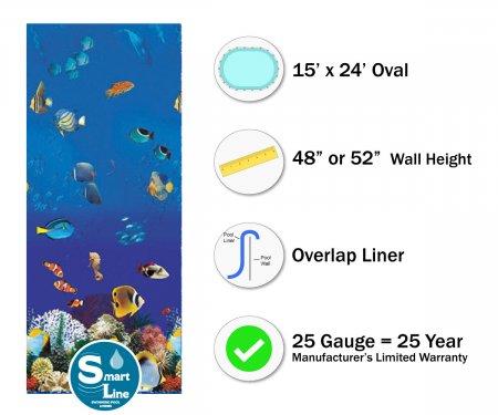 """SmartLine® 15' x 24' Oval Caribbean Overlap Liner - 48"""" / 52"""" H (Various Gauges)"""