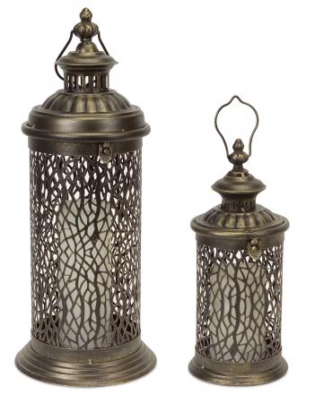 Metal Lanterns w/ Filigree Detail (Set of 2)