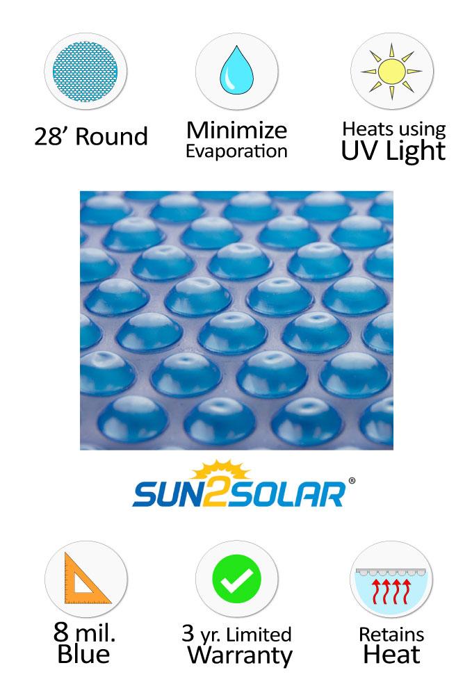 Sun2solar 174 Standard Blue Solar Cover 28 Round 8 Mil