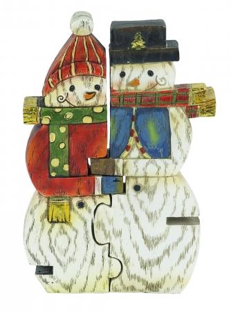 Snowman Couple Puzzle Figurines