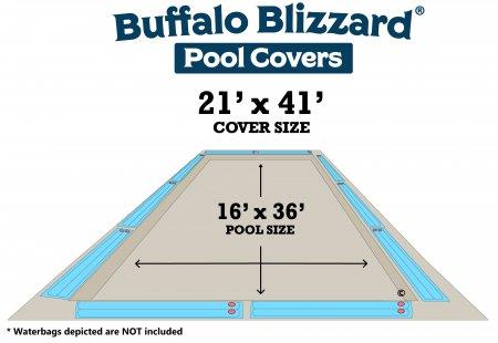 Buffalo Blizzard® Supreme Plus Tan/Silver Winter Cover - Rectangle Pools