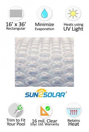 Sun2solar 174 Crystal Clear Solar Cover 16 X 36 Rectangular
