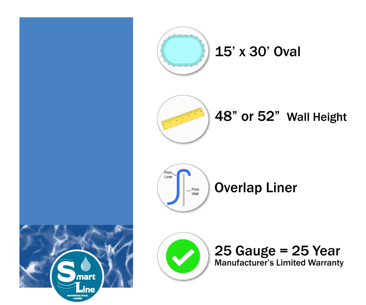 Smartline 174 15 X 30 Oval Swirl Bottom Overlap Liner 48