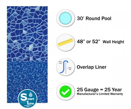 """SmartLine® 30' Round Cracked Glass Overlap Liner - 48"""" / 52"""" H (Various Gauges)"""