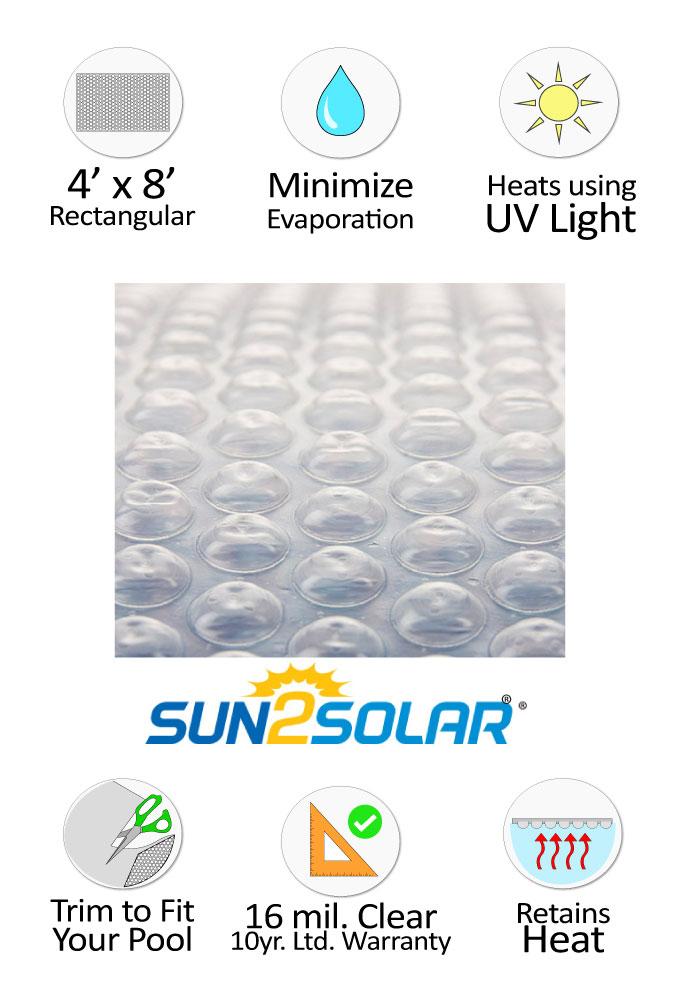 Sun2solar 174 Crystal Clear Solar Cover 4 X 8 Rectangular 16