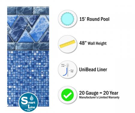 "SmartLine® 15' Round Stone Harbor Unibead Liner - 48"" H (Various Gauges)"