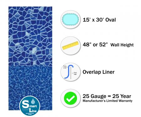 """SmartLine® 15' x 30' Oval Cracked Glass Overlap Liner - 48"""" / 52"""" H (Various Gauges)"""