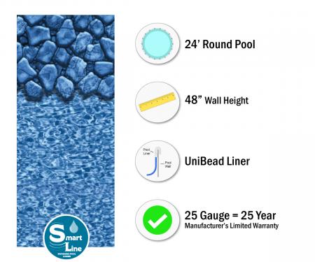 "SmartLine® 24' Round Boulder Swirl Unibead Liner - 48"" H (Various Gauges)"