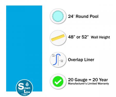 """SmartLine® 24' Round Solid Blue Overlap Liner - 48"""" / 52"""" H (Various Gauges)"""