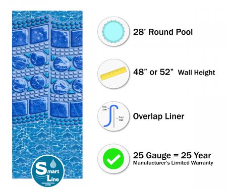 """SmartLine® 28' Round Swirl Tile Overlap Liner - 48"""" / 52"""" H, 25 Gauge"""