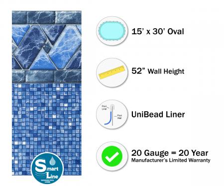 "SmartLine® 15' x 30' Oval Stone Harbor Unibead Liner - 52"" H (Various Gauges)"