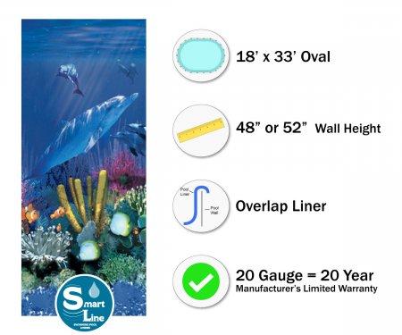 """SmartLine® 18' x 33' Oval Antilles Dolphin Overlap Liner - 48"""" / 52"""" H (Various Gauges)"""