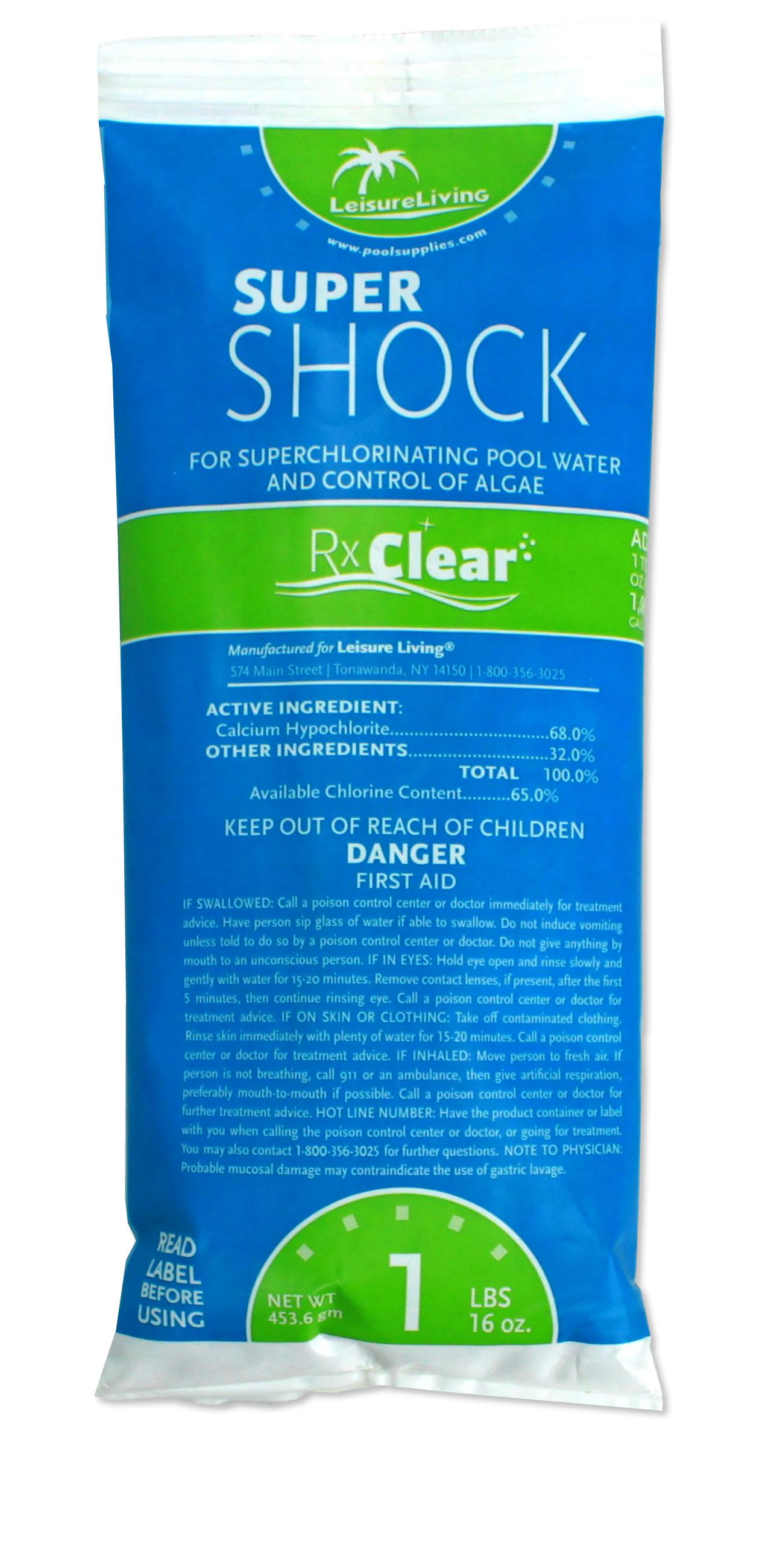 Rx Clear Super Shock Swimming Pool Chlorine Shock 1 Lb