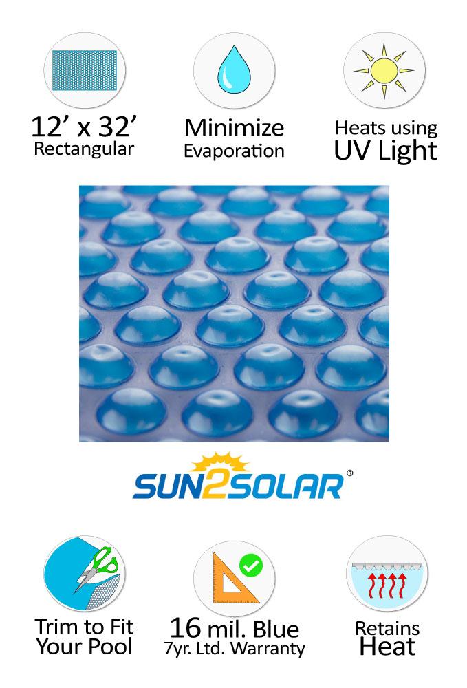 Sun2solar 174 Ultimate Solar Cover 12 X 32 Rectangular 16
