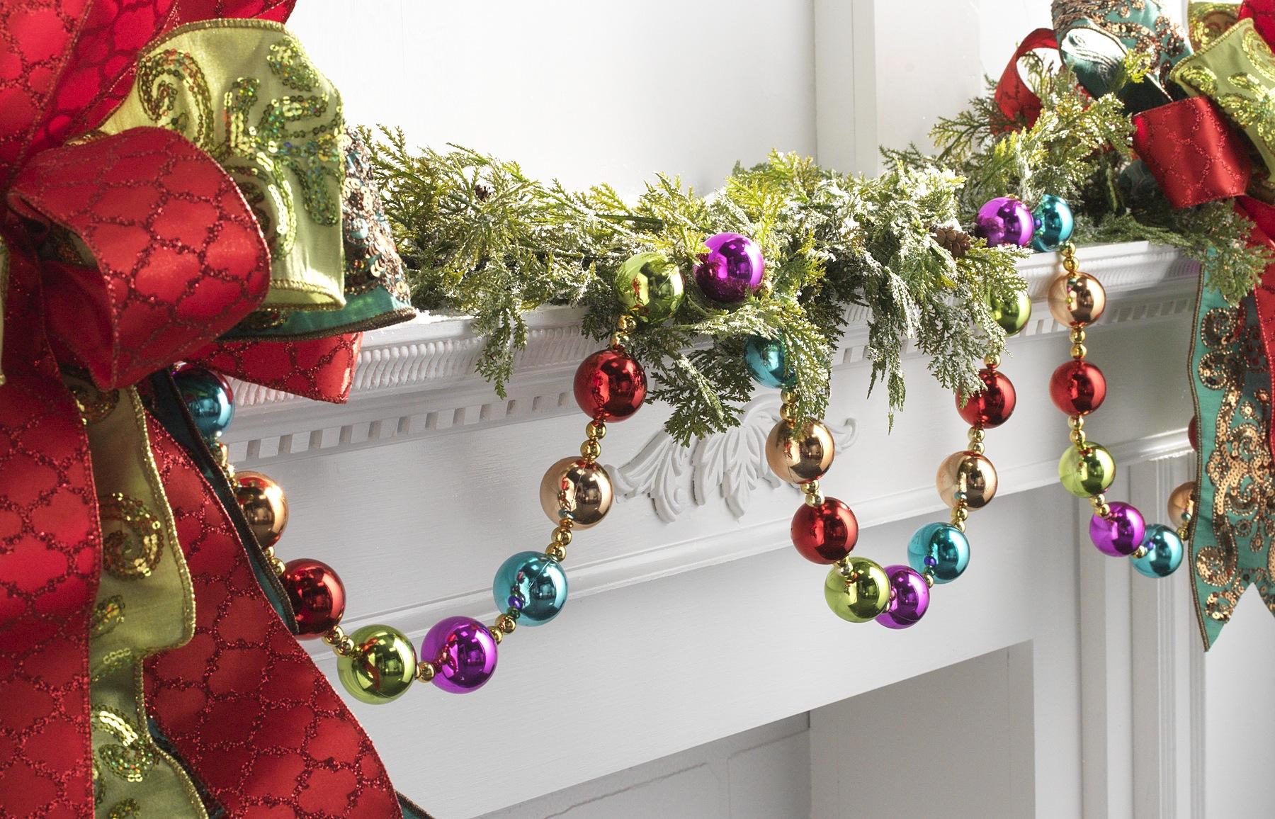 6 multi colored christmas ball garland