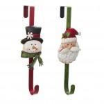 Tin Santa & Snowman Wreath Hanger (Set of 2)