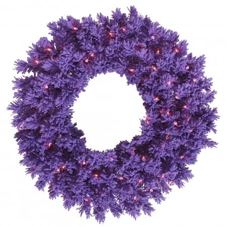 Flocked Purple Fir Wreaths & Garland