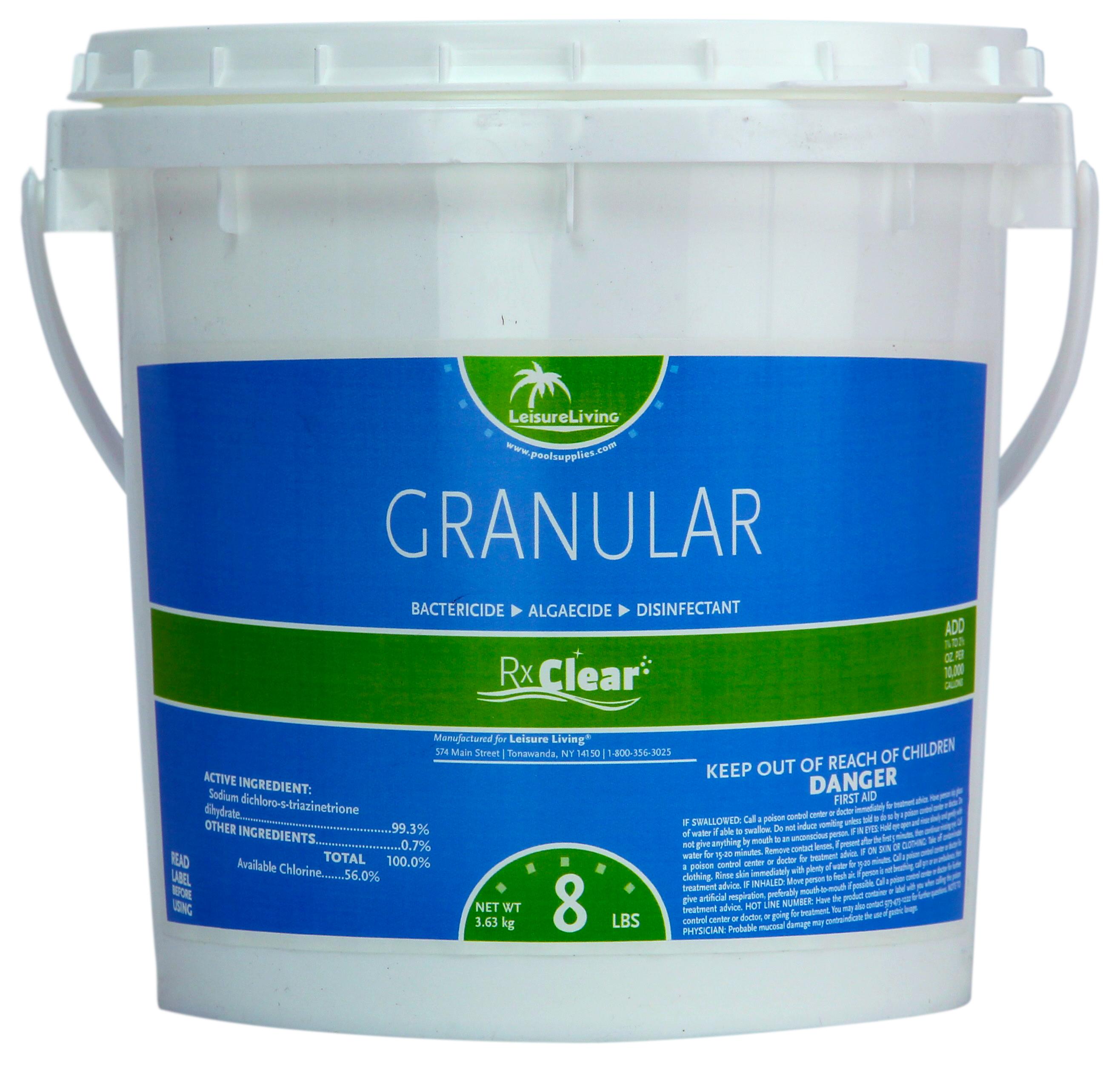 Rx Clear Granular Pool Chlorine 8 Lbs