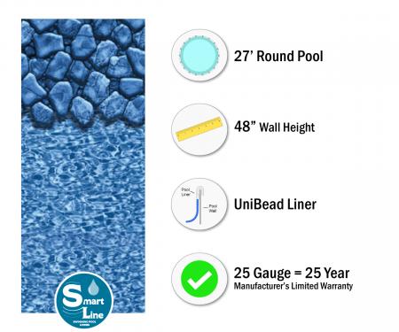 "SmartLine® 27' Round Boulder Swirl Unibead Liner - 48"" H (Various Gauges)"