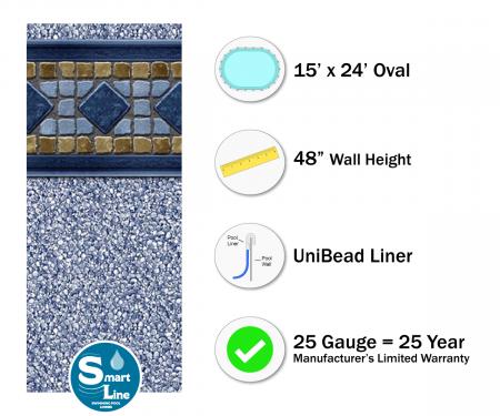 "SmartLine® 15' x 24' Oval Laguna Unibead Liner - 48"" H (Various Gauges)"