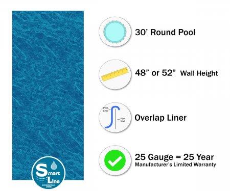 "SmartLine® 30' Round Pacific Ice Overlap Liner - 48"" / 52"" H 25 Gauge"