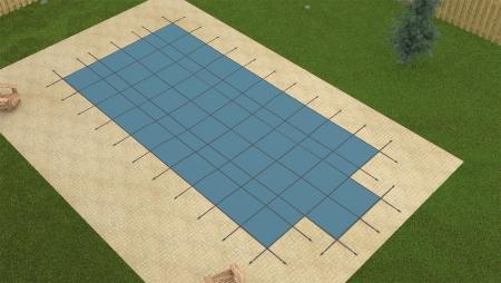 Yard Guard Rectangular w/ End Steps Aquamaster Blue w/ Pump 14 x 28 + 4 x 8