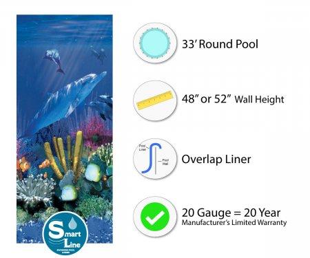 """SmartLine® 33' Round Antilles Dolphin Overlap Liner - 48"""" / 52"""" H (Various Gauges)"""