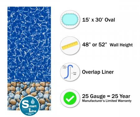 """SmartLine® 15' x 30' Oval Bedrock Overlap Liner - 48"""" / 52"""" H (Various Gauges)"""